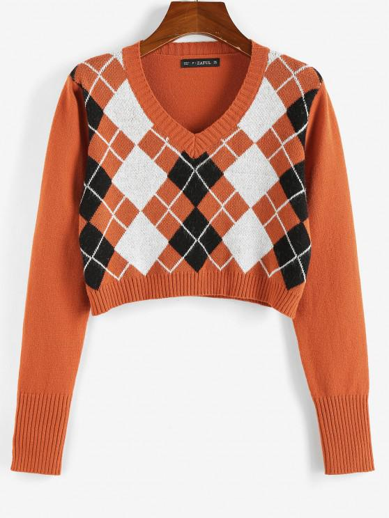 ZAFUL Argyle V Neck Crop Sweater - البرتقالي S