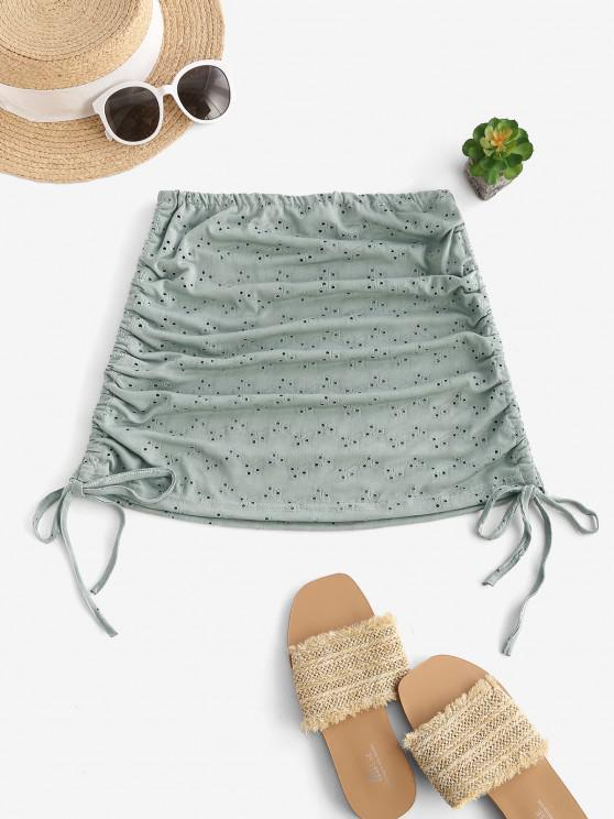 online Cinched Eyelet Cover-up Skirt - DARK SEA GREEN ONE SIZE