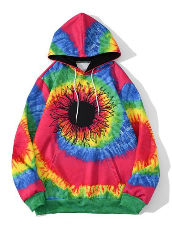 Tie Dye Swirl Sunflower Pattern Hoodie - الحمم الحمراء 2XL