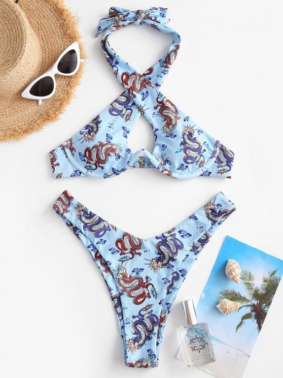 ZAFUL Kreuze und Quere Schlangenleder Bikini Badebekleidung - Hellblau S
