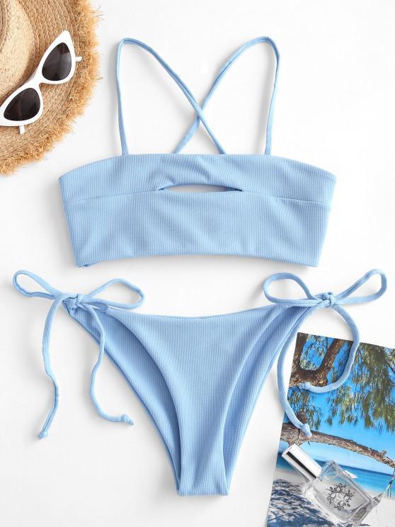 ZAFUL Textured Tie Keyhole Crisscross Tanga Bikini Swimwear - أزرق فاتح S
