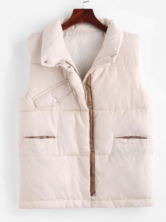fancy Pockets Zip Up Padded Vest - APRICOT XL