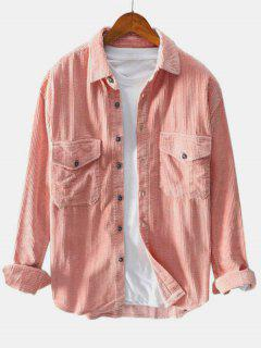 Double Pockets Button Up Corduroy Shirt - Light Pink 3xl