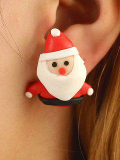 Christmas Santa Claus Stud Earrings - Lava Red