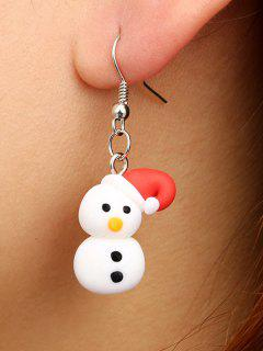 Christmas Snowman Polymer Clay Earrings - Silver