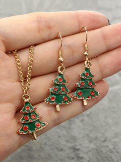 Christmas Tree Necklace Earrings Suit - Golden