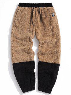 ZAFUL Letter Applique Contrast Faux Fur Fluffy Pants - Light Brown Xs