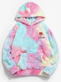 ZAFUL Rose Flower Embroidered Tie Dye Fluffy Hoodie - Multi 2xl