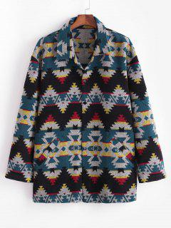 Ethnic Tribal Pattern Knitted Jacket - Blue S