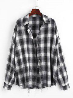 Checked Raw Hem Oversized Shirt - Black L