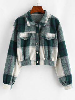 Button Up Plaid Wool Blend Jacket - Deep Green L