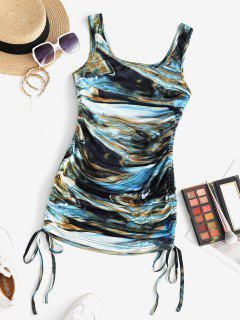 ZAFUL Agate Print Cinched Ruched Bodycon Tank Dress - Black S