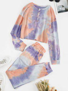 Tie Dye Button Front Two Piece Sweat Suit - Light Purple M