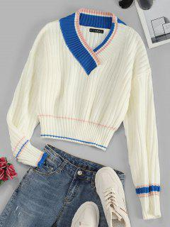 Drop Shoulder V Neck Preppy Stripes Sweater - White
