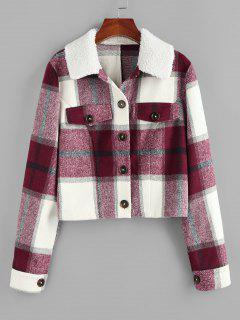 ZAFUL Plaid Raw Cut Teddy Collar Flap Detail Jacket - Red Wine Xl