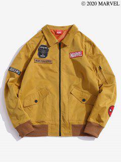 Marvel Spider-Man Letter Pattern Badge Jacket - Orange Gold M