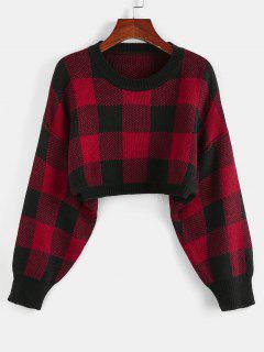 ZAFUL Plaid Drop Shoulder Crop Sweater - Chestnut Red L