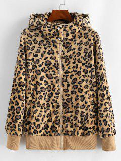 Pockets Zip Up Leopard Faux Fur Coat - Wood M