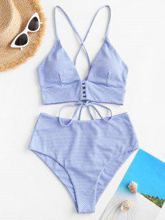 ZAFUL Textured Strappy Crisscross Back Tankini Swimwear - Light Blue L