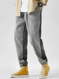 Drawstring Contrast Corduroy Casual Pants - Light Gray Xl