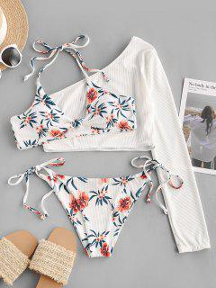 ZAFUL Floral Ribbed Knot Tie Side Three Piece Bikini Swimsuit - White M