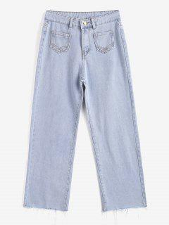 Light Wash Frayed Hem Wide Leg Jeans - Light Blue L