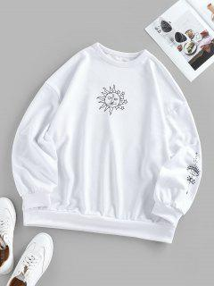 ZAFUL Oversized Graphic Sun Moon Print Sweatshirt - Milk White S