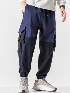 Pantalones De Carga De Panel De Bolsillo De Solapa De Bloqueo De Color - Azul Oscuro De Denim Xs