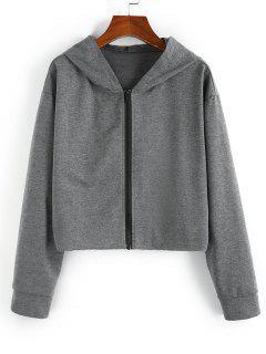 ZAFUL Hooded Drop Shoulder Zip Up Heather Jacket - Gray M