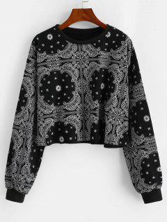 Drop Shoulder Paisley Bandana Print Sweatshirt - Night