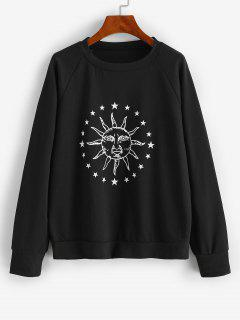 Raglan Sleeve Sun Star Graphic Sweatshirt - Night M