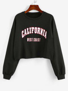 ZAFUL Letter Print Cropped Sweatshirt - Black S