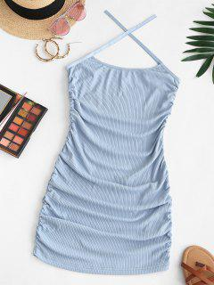 ZAFUL Ribbed Criss Cross Ruched Cami Dress - Light Blue L