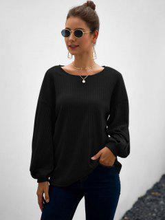 Wide Rib Lantern Sleeve Knitwear - Black M