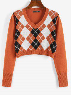 ZAFUL Argyle V Neck Crop Sweater - Orange Xl