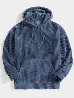 Corduroy Solid Front Pocket Hoodie - Blue S