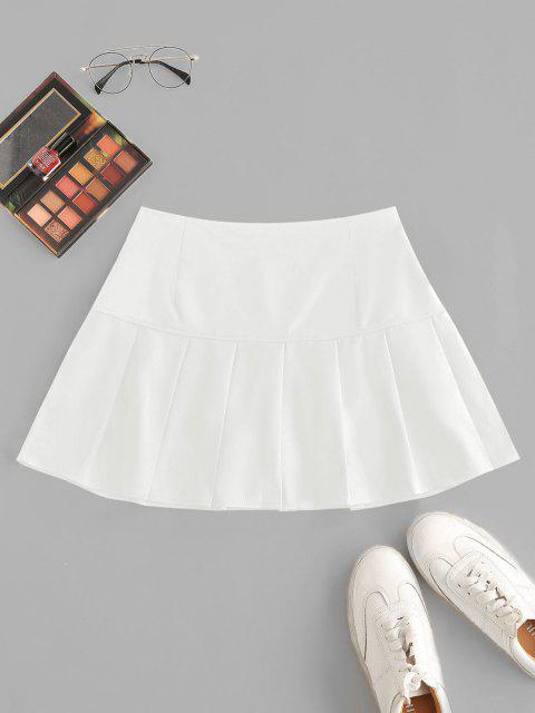 shop Side Zipper Solid Pleated Mini Skirt - WHITE S Mobile