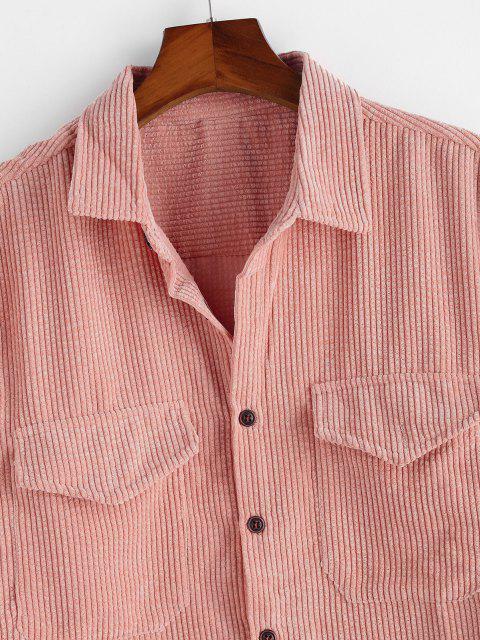 Camisa de Pana con Bolsillos Dobles - Rosa Claro 3XL Mobile