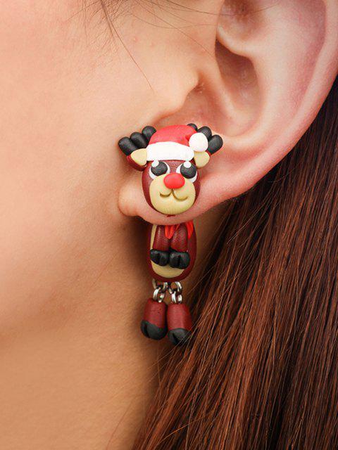 hot Christmas Elk Polymer Clay Earrings - CHESTNUT RED  Mobile