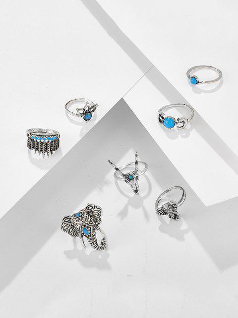 trendy 7Pcs Tribal Elephant Turquoise Rings Set - SILVER  Mobile
