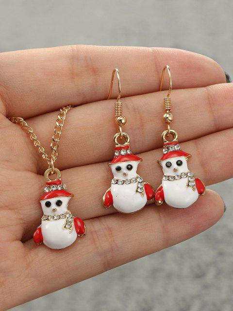 sale Christmas Snowman Rhinestone Jewelry Set - GOLDEN  Mobile