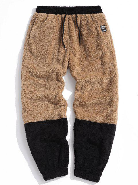 womens ZAFUL Letter Applique Contrast Faux Fur Fluffy Pants - LIGHT BROWN 2XL Mobile
