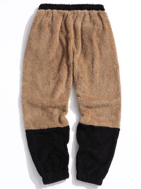 ZAFUL Pantalones Esponjoso de Piel Sintética con Estampado de Letras - Marrón Claro M Mobile