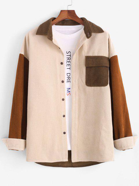 womens Colorblock Panel Pocket Long Sleeve Corduroy Shirt - LIGHT COFFEE M Mobile