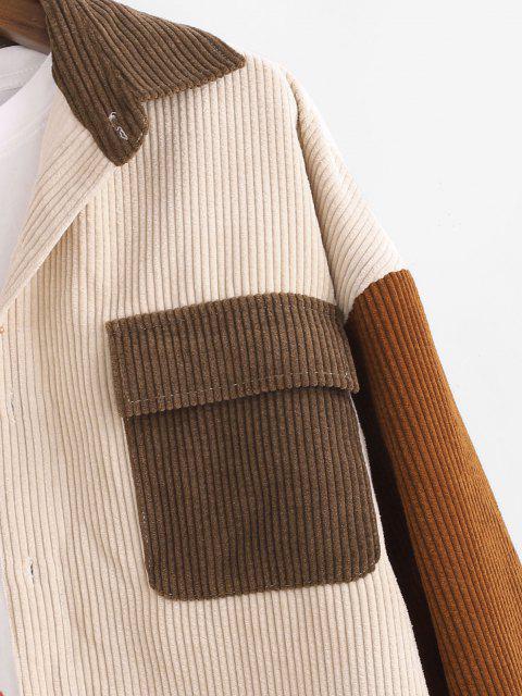 trendy Colorblock Panel Pocket Long Sleeve Corduroy Shirt - LIGHT COFFEE S Mobile