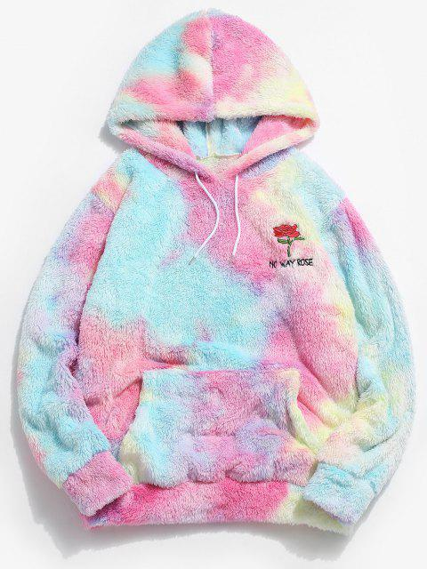 affordable ZAFUL Rose Flower Embroidered Tie Dye Fluffy Hoodie - MULTI XL Mobile