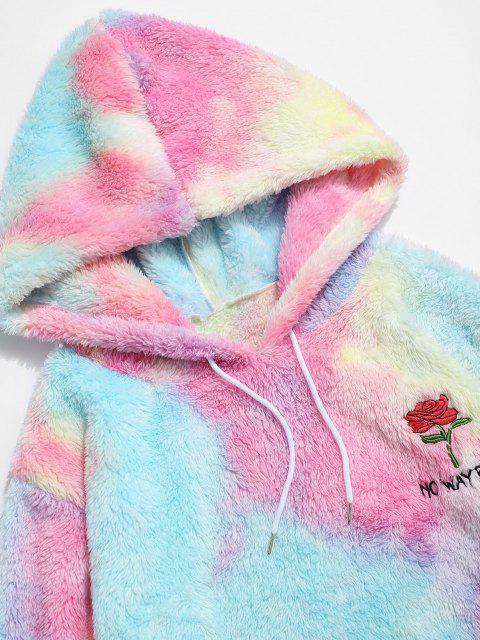 trendy ZAFUL Rose Flower Embroidered Tie Dye Fluffy Hoodie - MULTI 2XL Mobile
