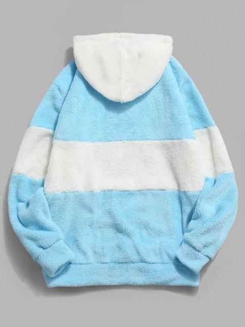 fashion ZAFUL Hanzi Embroidered Contrast Faux Fur Fluffy Hoodie - LIGHT BLUE XS Mobile