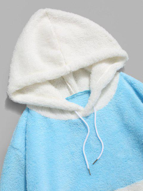 lady ZAFUL Hanzi Embroidered Contrast Faux Fur Fluffy Hoodie - LIGHT BLUE XL Mobile