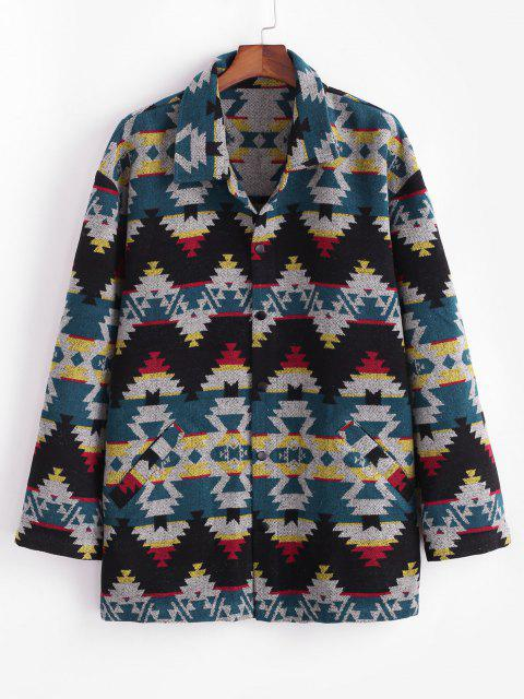 affordable Ethnic Tribal Pattern Knitted Jacket - BLUE XL Mobile